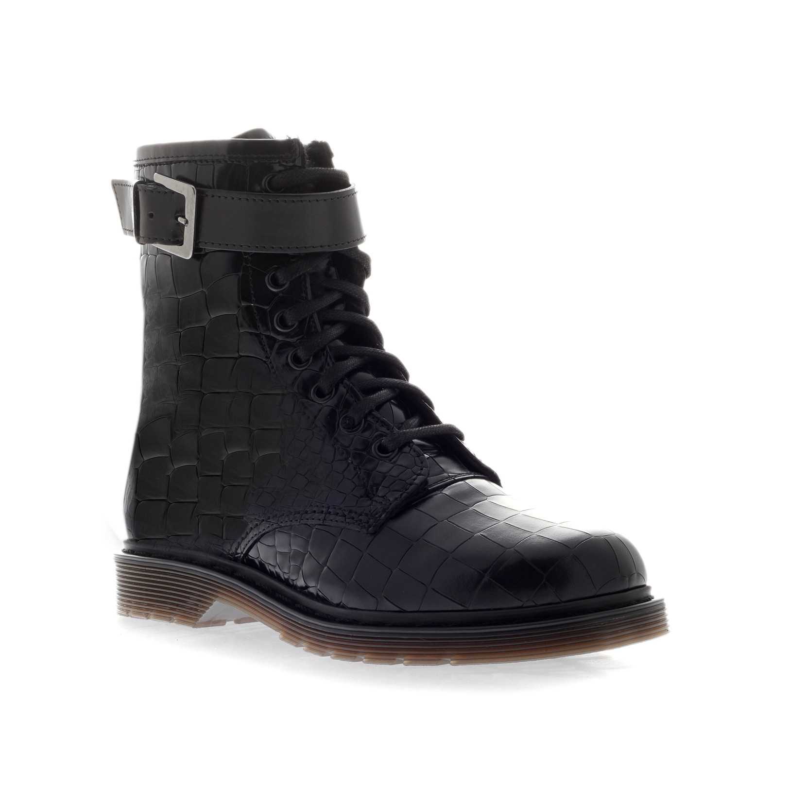 Kurt Geiger | STEELL Black Flat Lace-up Boots by Kurt Geiger London