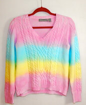 sweater,dip dyed,pastel,tie dye,clothes,hipster,jumper,top,pink,yellow,blue,shirt,rainbow