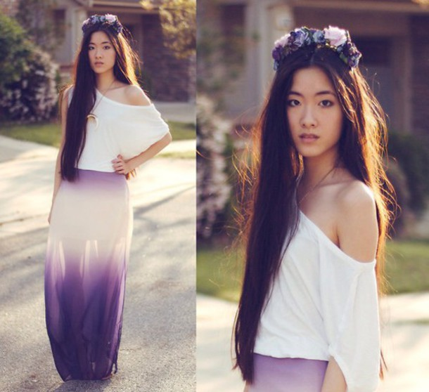 skirt gradient purple boho flowy