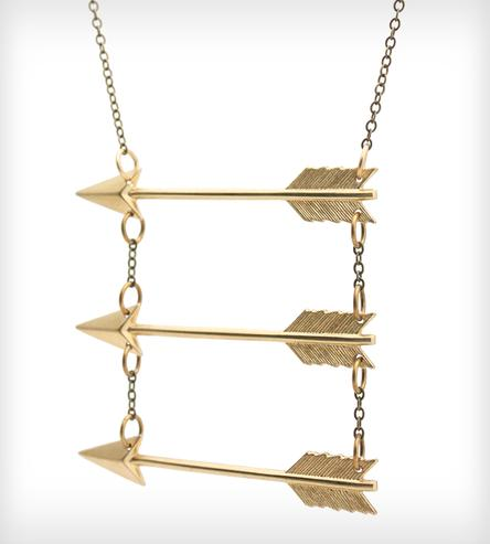 Go your own way brass arrow necklace
