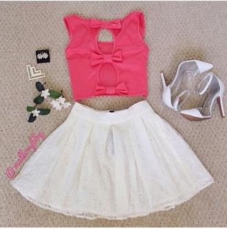 shirt skirt shoes bows pink white cute girly kawaii tulle skirt heels high heels