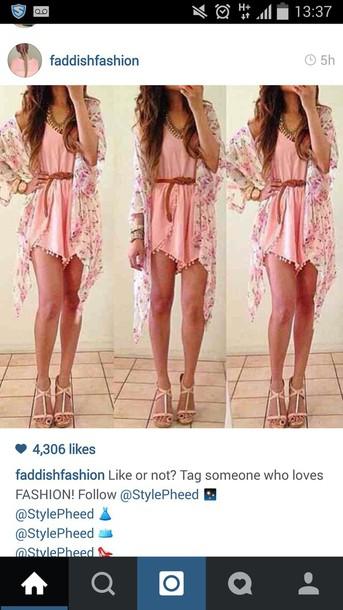 jumpsuit romper pink jumpsuit pink playsuit pink dress dress camisole belt brown belt summer dress
