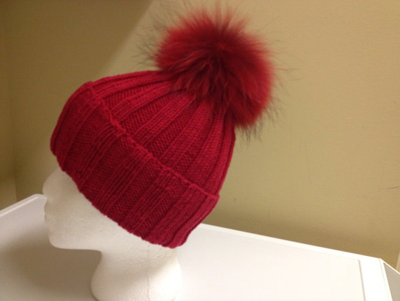 Ribbed Red Wool Beanie Hat - Red Fur Pom Pom - b87e7568c10