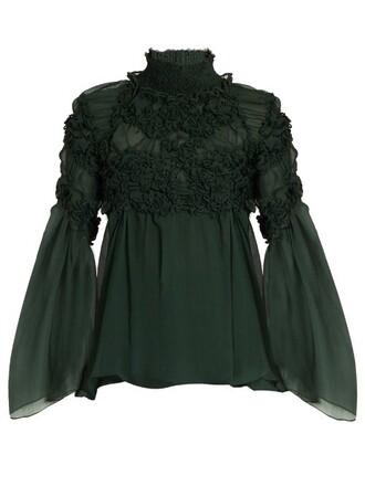 blouse floral silk dark green top