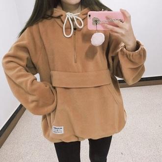 sweater winter outfits oversized fleece pullover jacket pouch hoodie teddy bear soft love brown cozy girl women jumper coat anorak beige nude coat brown pullover half zip half zip pullover urban streetwear cute