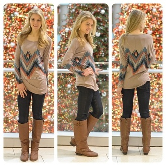 t-shirt county long sleeves fall outfits shirt clothes shoes sweater tribal pattern top blouse jeans tan beige aztec aztec top