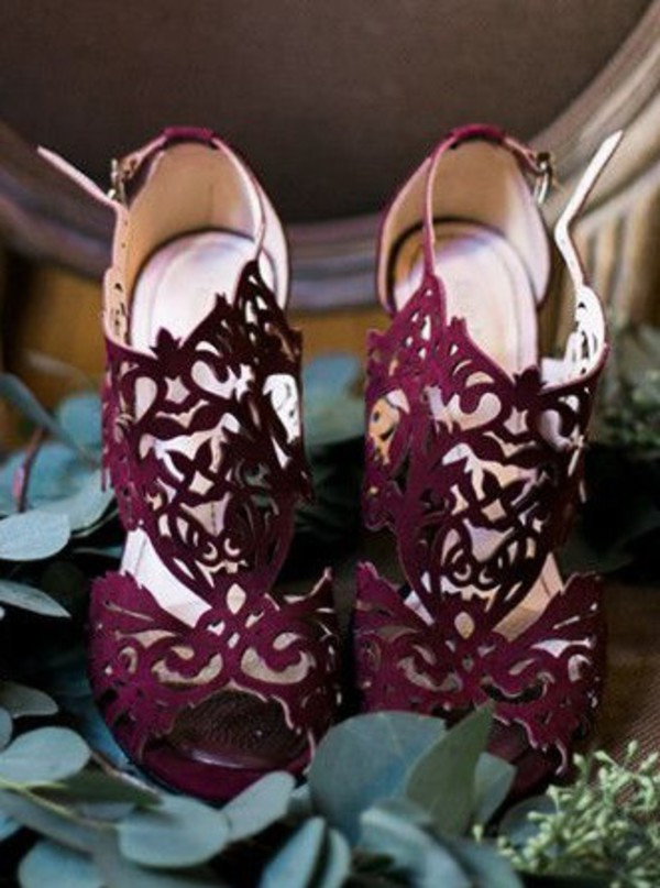Shoes Burgundy Laser Cut Wedding Shoes Wheretoget