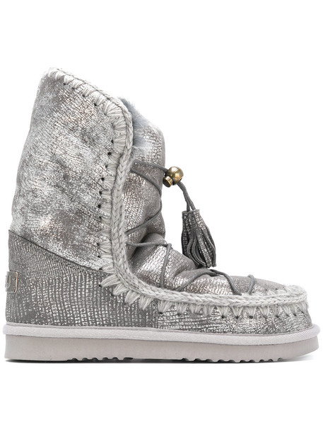 Mou fur women lace leather grey metallic shoes
