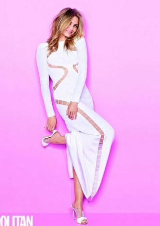 dress maxi dress cameron diaz white dress white sandals editorial