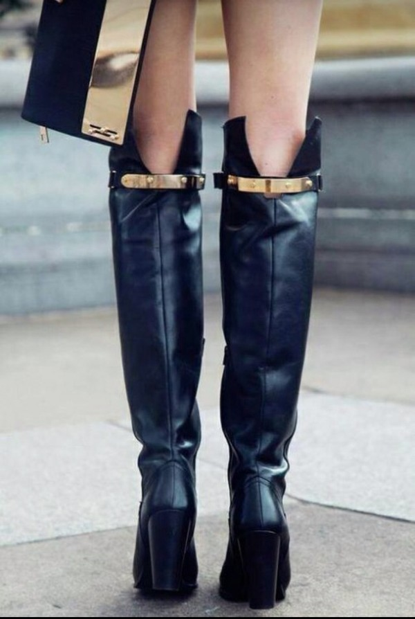 Black block heel over the knee boots - shoes / boots - sale - women
