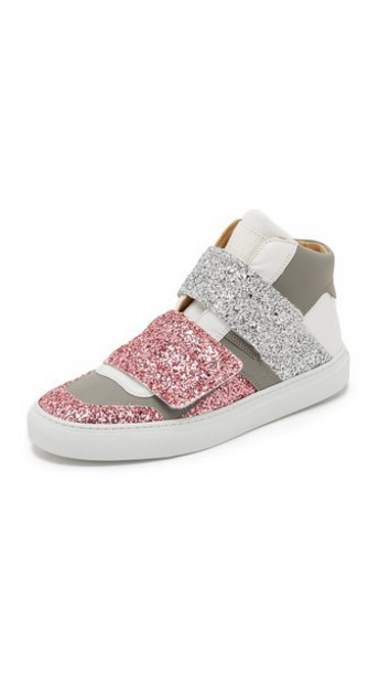 MM6 high sneakers high top sneakers silver white pink grey shoes