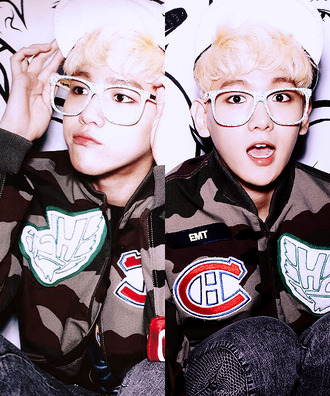 jacket baekhyun cute exo exo k glasses blonde hair snapback kpop sunglasses