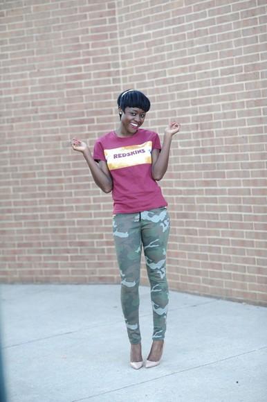 t-shirt skinny hipster blogger redskins military skinny pants