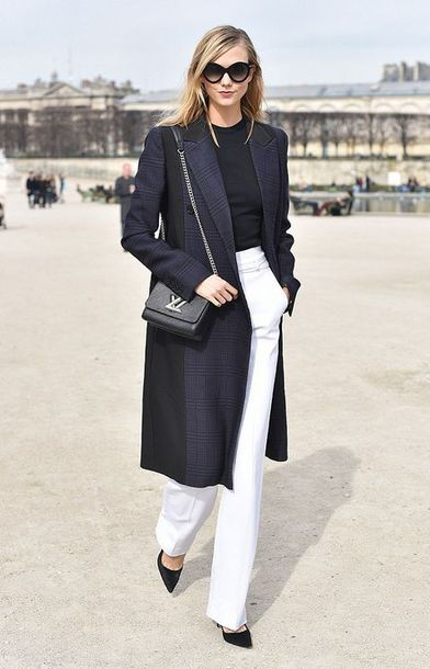 pants fashion week 2015 karlie kloss coat bag purse