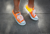 shoes,orange,converse,neon,jewels,converse that change colour in the sun,allstars converse,orange shoes,low,peency,girl,girly