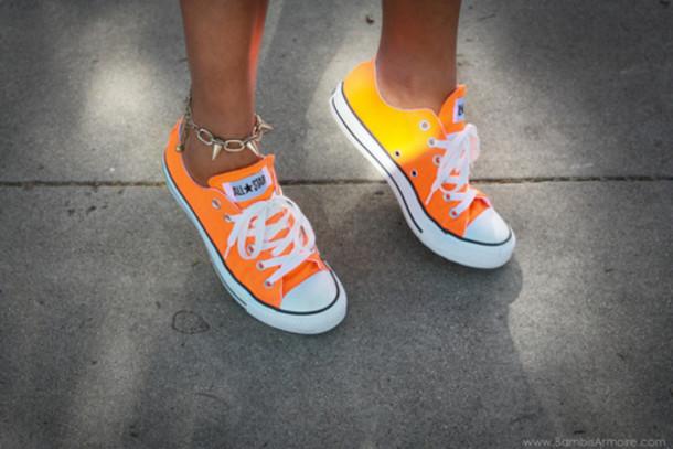 7af41bfd44ea62 shoes orange converse neon converse jewels converse that change colour in  the sun allstars converse orange