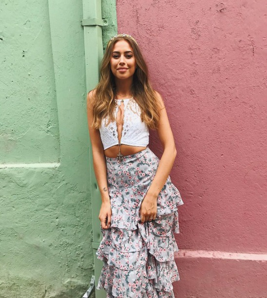 skirt floral maxi skirt summer summer outfits vacation outfits boho boho chic high waist skirts Nelly top crop tops lace top