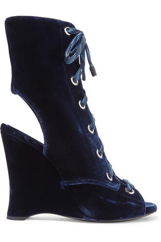 boots ankle boots velvet ankle boots lace navy velvet shoes