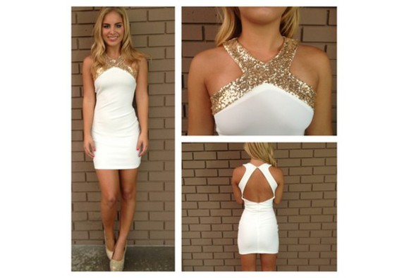 women fashion jewels casual dress mini short sleeveless cross cocktail short dress prom dress cocktail dress white dresss sequins dress gold sequins dresses sheath dress homecoming drss homecoming dress above the knee dress high neck dress high neckline