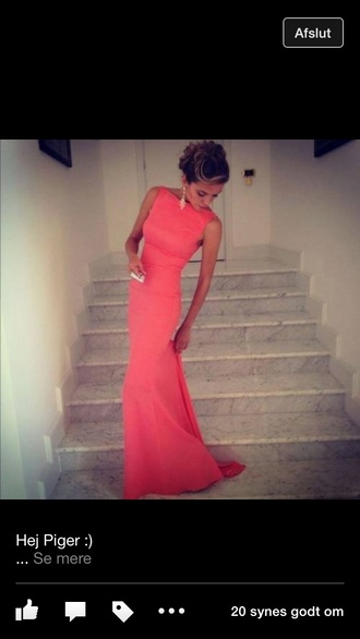 dress long prom dress pink pink dress pink prom dress formal peach awards ceremony formal dress prom dress formal event outfit coral dress tight bodycon dress prom pretty girl coral maxi dress earrings dress coral pink red formal