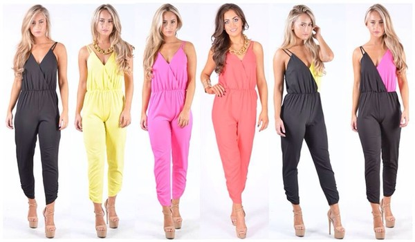 9845faa50116 Ladies Richmond Cross Over Chiffon Strappy Jumpsuit In Neon Pink at ...