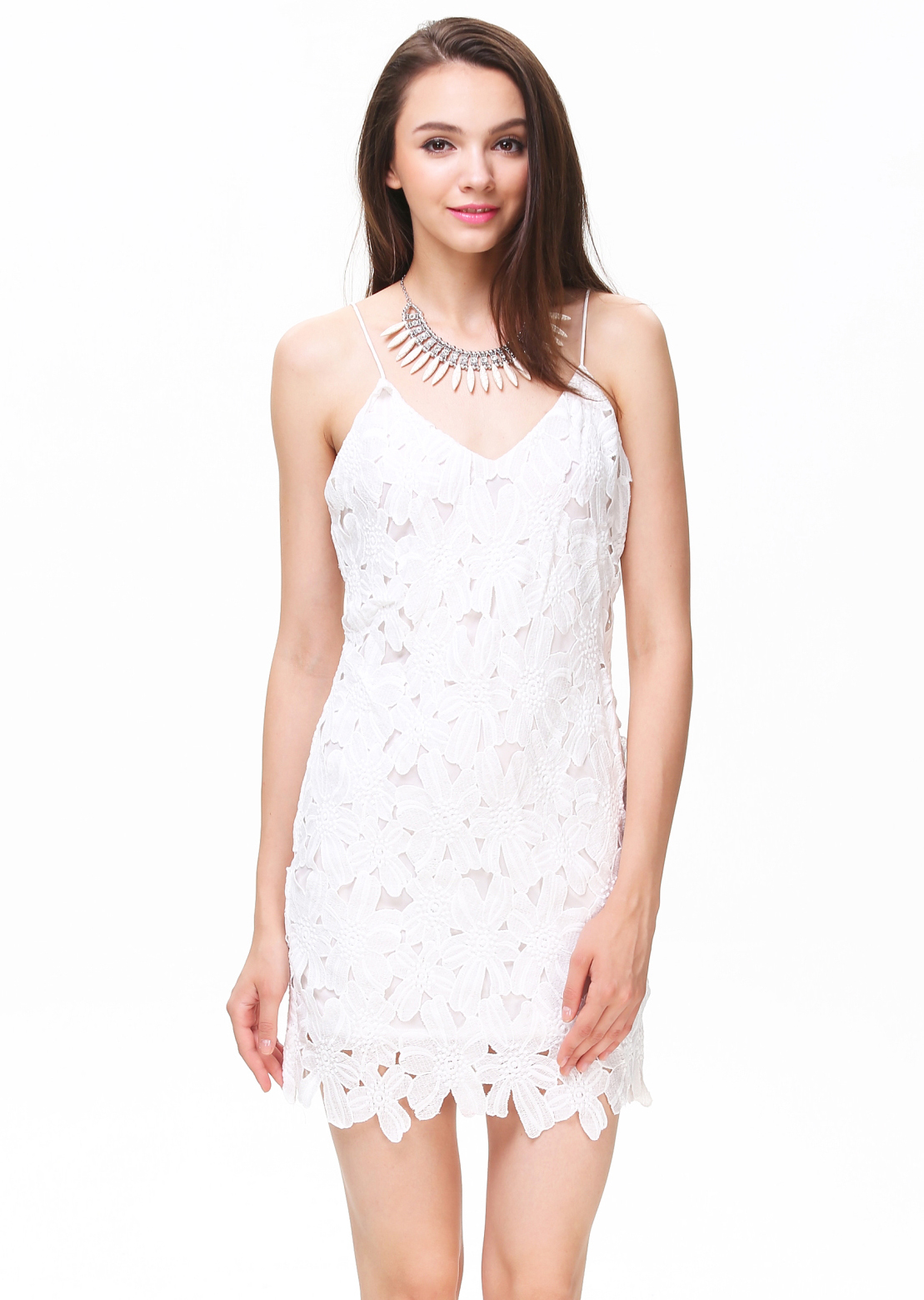 White Spaghetti Strap Deep V-back Crochet Dress - Sheinside.com
