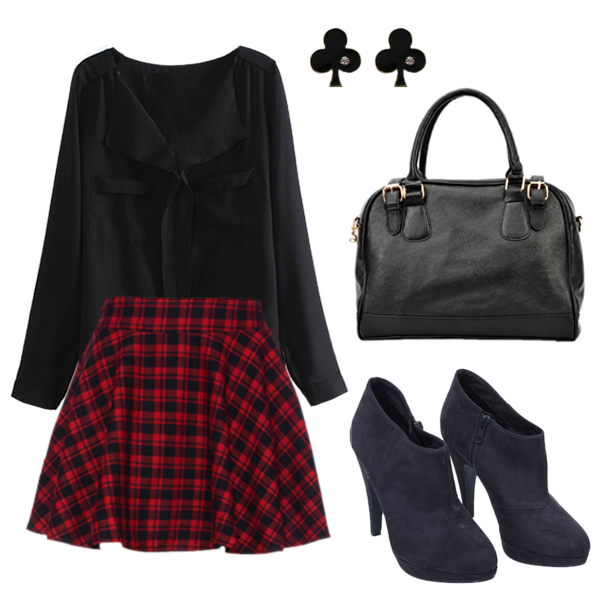 ROMWE | ROMWE Red Plaid Print Skirt, The Latest Street Fashion