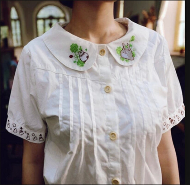 japanese totoro peter pan collar shirt