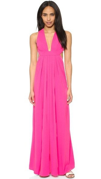 gown v neck pink dress