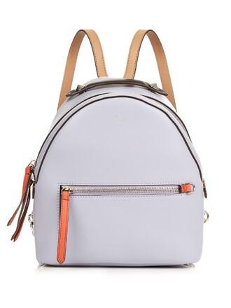 mini backpack leather light purple bag