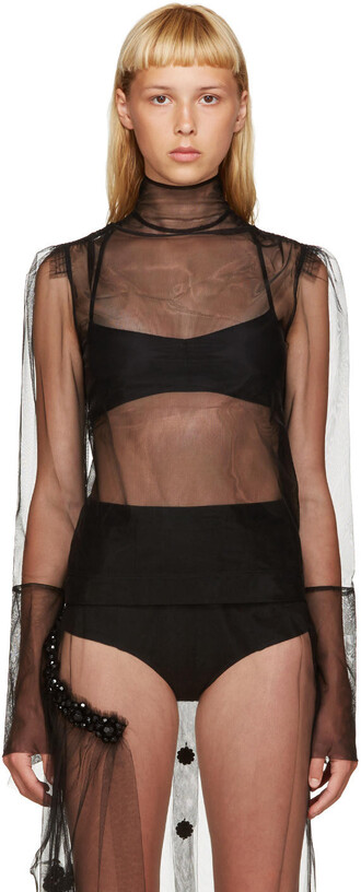 blouse sheer blouse sheer black top