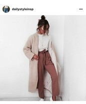 jeans,pants,tan,bow tie pants,nude,fuzzy coat,minimalist,work outfits,bun,casual,rose,striped pants,coat,winter coat,wool coat,wool,cropped pants,zara stripped pants,stripped pants,zara,zara jacket,zara clothes,zara style,rose pants,stripped,white,brown,stripes,belt,cropped,scalloped top,scalloped,white shoes,wide-leg pants,jacket