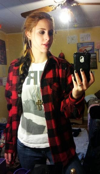 cross necklace t-shirt jewels gold kurt cobain grunge long necklace lipstick red lipstick