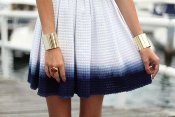 ombre dress jewels white to blue dye dress skirt