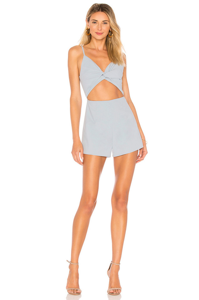 by the way. Nancy Front Knot Cami Romper in blue