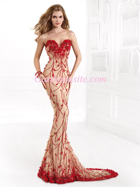 Sheath/Column Jewel Tulle Back Court Train Bead Flowers Tulle Prom Dresses 2014 - Gardeniasite