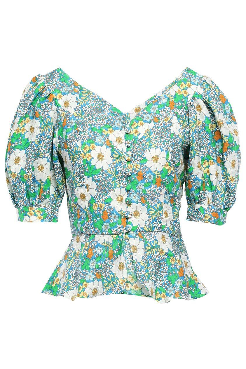 Perseverance Woman Floral-print Linen Peplum Top Azure Size 6
