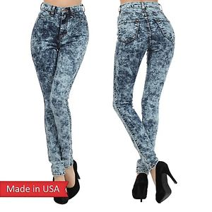 New Dark Acid Wash Fitted Skinny High Waist Classic Denim Jeans Pants Bottom USA
