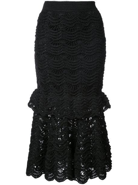 Carolina Herrera skirt women lace black silk