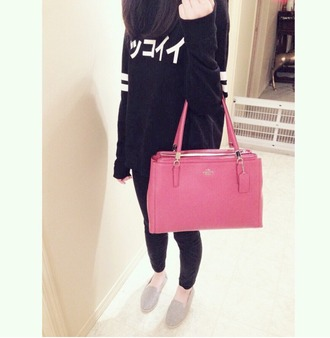 sweater japanese fashion japan black pink bag