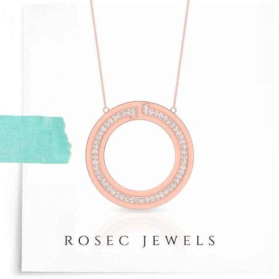 Circle Charm Pendant, Diamond Necklace Two Round Pendant, T shape Dainty Pendant with Chain in 14k Gold