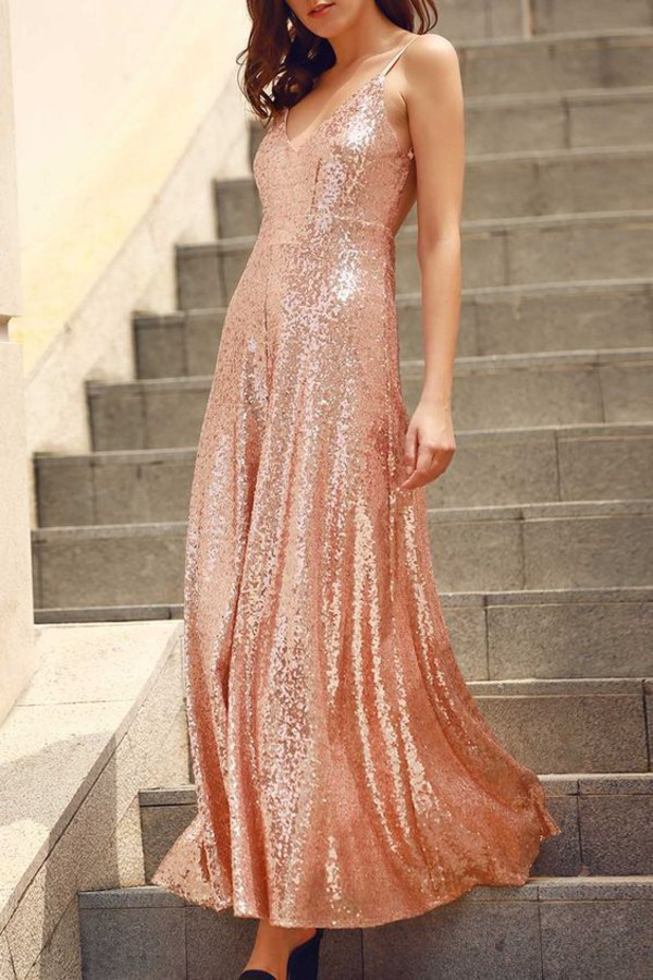 91c21cf2 dress rose gold sequins prom dress glitter glitter dress gold dress prom  dance