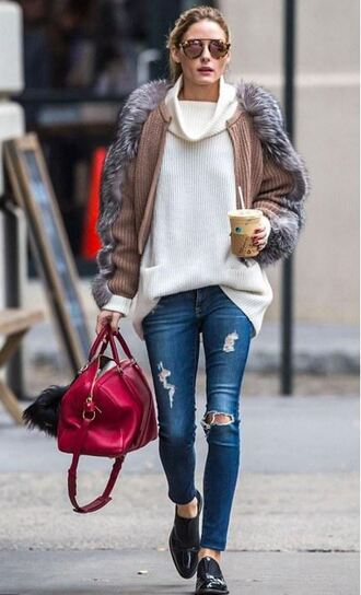 sweater turtleneck sweater fall outfits fall sweater olivia palermo jeans flats fur jacket fur