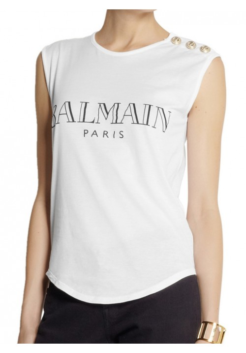 Balmain sleeveless T-shirt with Gold buttoned shoulder Detailed and front print.