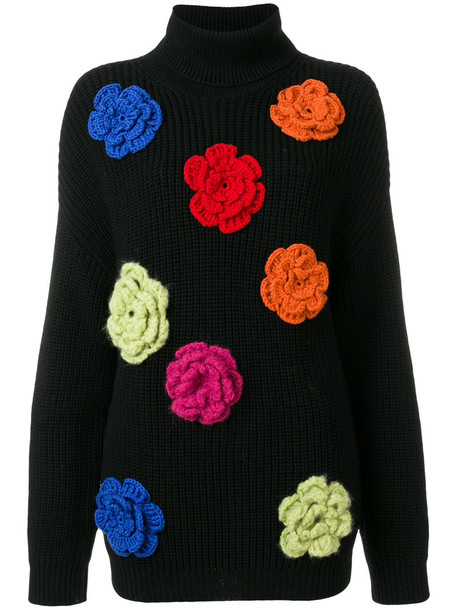 BOUTIQUE MOSCHINO jumper women floral black wool sweater
