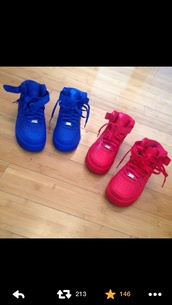 shoes,sneakers,colorful,nike air force 1,airforce1 high,id,nike running shoes,nike free run,nike sneakers,blue,pink,blue red,drake