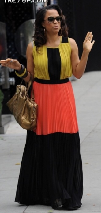 dress sundress summer dress summer cute colorblock maxi colorblocked dress colorblock jeans shorts t-shirt shirt classy classy dress black and white birkin hermes