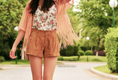 shorts,outside,tree,bushes,brown,jacket,shirt,floral