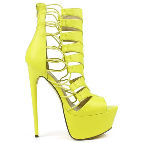 Originals – Vicky-01 Yellow Strappy Peep-toe Gladiator Stiletto Heels