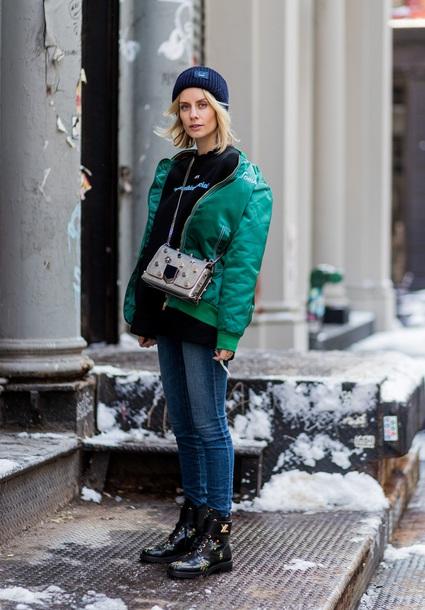 lisa rvd blogger jacket sweater jeans shoes bag hat